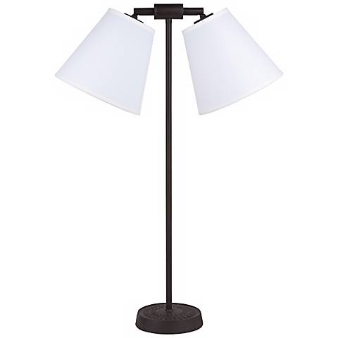 Lights Up! Zoe Twin Light Ivory Ipanema Desk Lamp