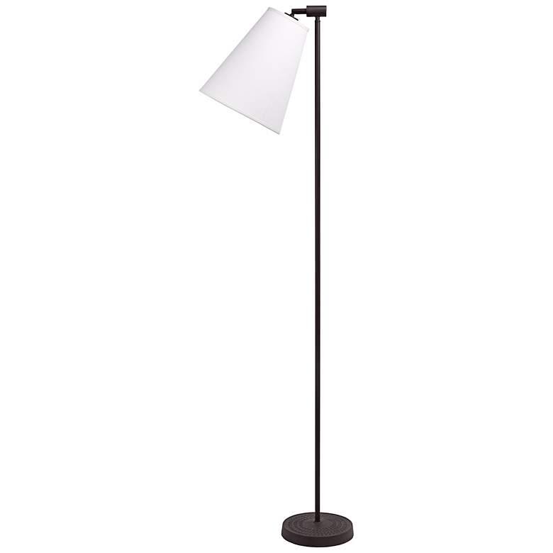 "Lights Up! Zoe 60""H Natural Linen Antique Iron Floor Lamp"