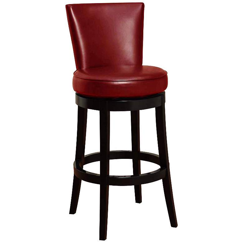 "Boston 30"" Red Leather Swivel Bar Stool"
