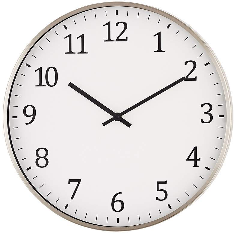 "Wilburton Satin Nickel 14"" Round Metal Wall Clock"