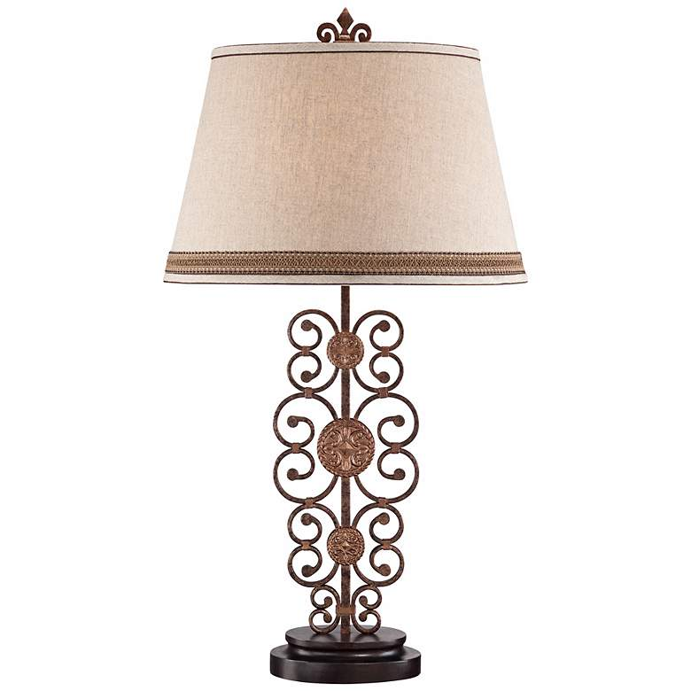 Metal Scroll Medallion Table Lamp