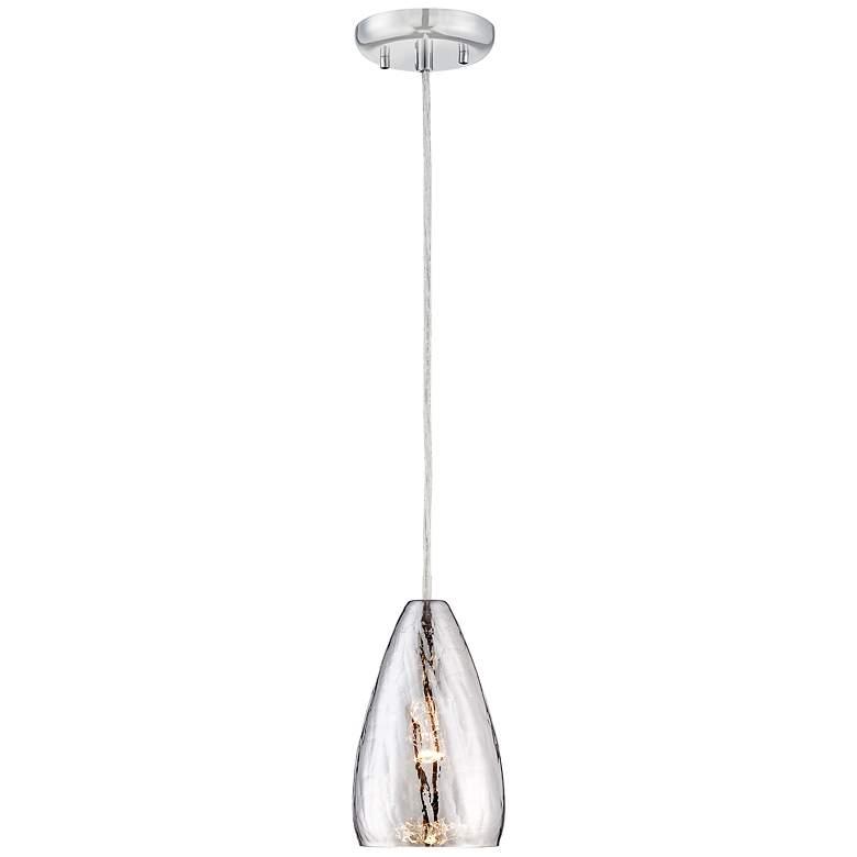 """Possini Euro Portico 5"""" Wide Crackle Glass Mini Pendant"""