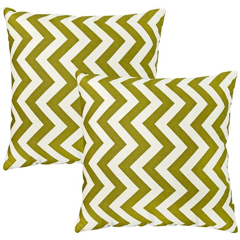 Set of 2 Green Zig Zag Toss Pillows