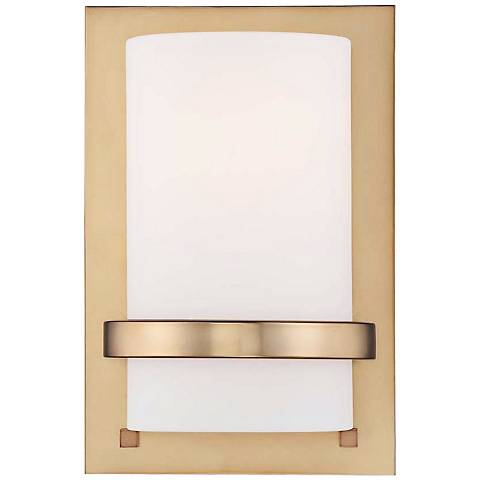 """Etched Opal Glass 10"""" High Honey Gold Wall Sconce"""