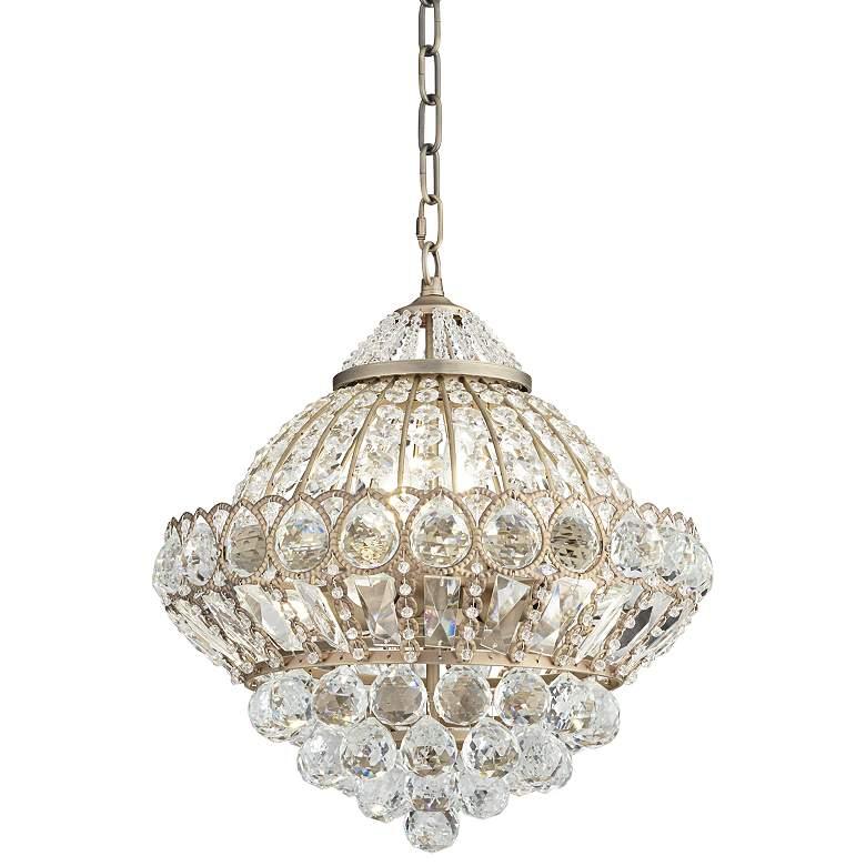 "Wallingford 16"" Wide Antique Brass Crystal Chandelier"