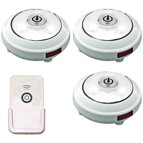 Set Of 3 White Battery Powered Led Puck Lights With Remote