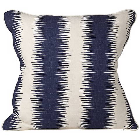 """Shock 20"""" Square Blue and Beige Stripe Throw Pillow"""
