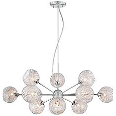 """Possini Euro Wired 32"""" Wide Glass and Chrome Chandelier"""
