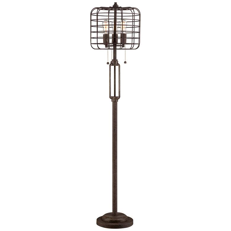 """Industrial Cage 65"""" High Metal Floor Lamp with Edison Bulbs"""