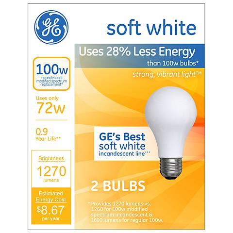 GE 72 Watt 2-Pack Frosted Halogen Light Bulbs