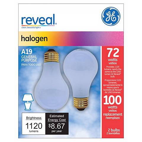 GE 72 Watt 2-Pack A-19 Reveal Halogen Light Bulbs