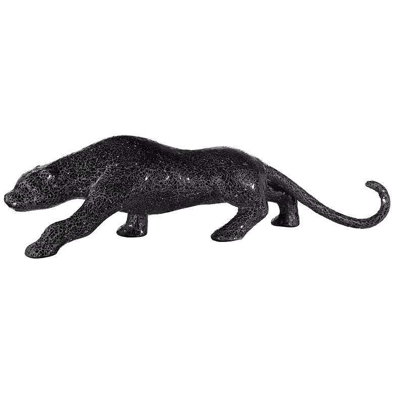 """Glass Mosaic 29 1/4"""" Wide Black Panther Table Sculpture"""