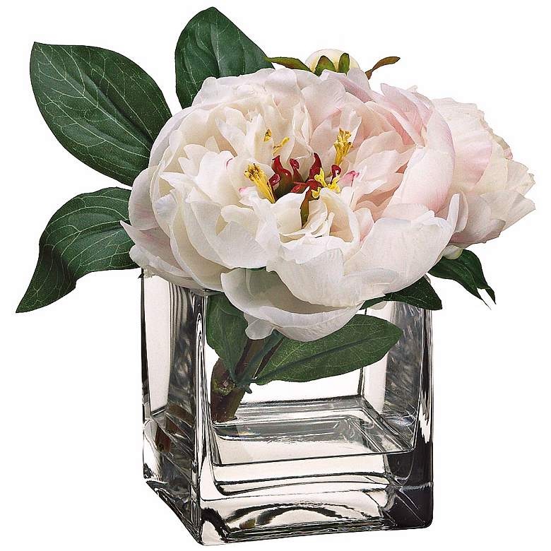 Pearl and Cerise Grand Peony Silk Flowers in Glass Vase