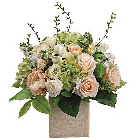 """Peony Rose and Hydrangea 19""""H Faux Silk Floral Arrangement"""