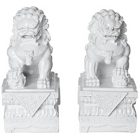 "Set of 2 Asian Foo Dog 9"" High Sculptures in White"
