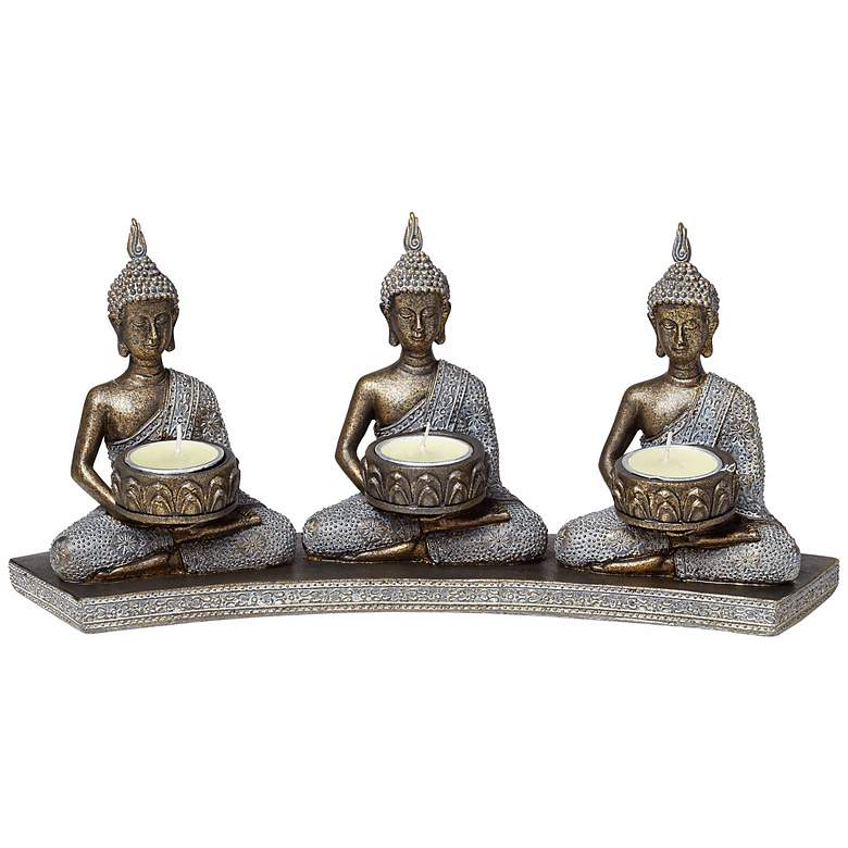 """Peace 14 1/2"""" Wide Thai Buddhas Tealight Candle Holder"""