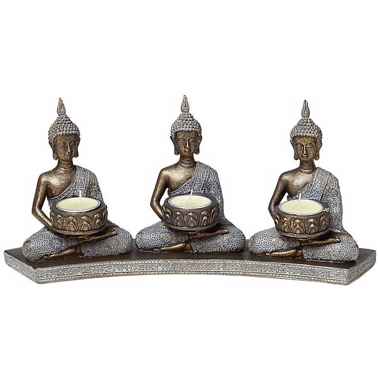 Three Thai Buddhas 3-Tealight Candle Holder