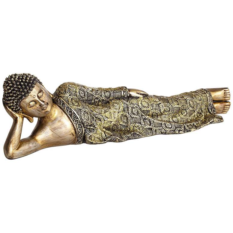 """Jeweled and Gold 18"""" Wide Reclining Buddha Sculpture"""