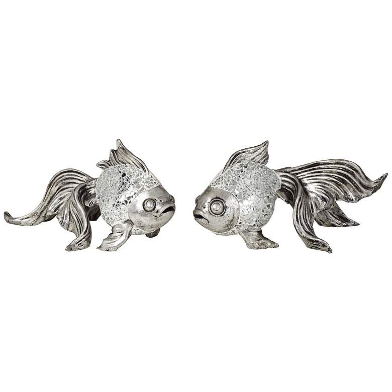 """Set of Two Silver Mosaic Koi Fish Accents 9 1/2"""" Wide"""