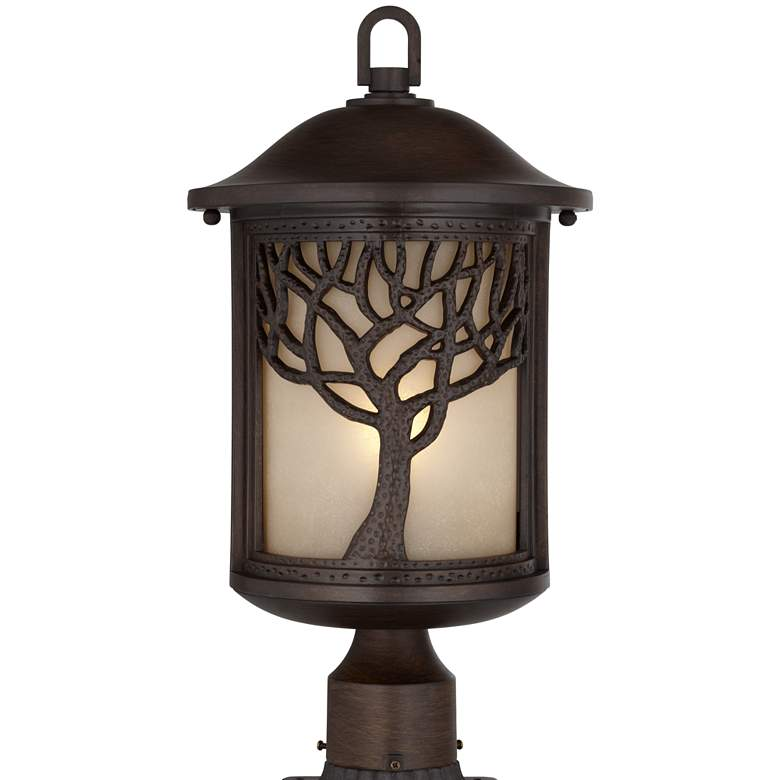"Mission Style Oak Tree 18 3/4"" High Bronze Finish Post Light"