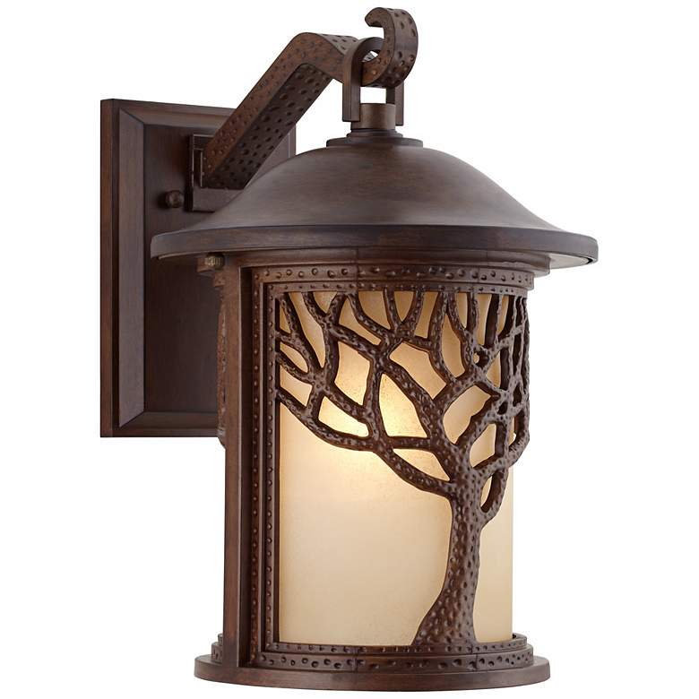 """Bronze Mission Style Tree 15"""" High Outdoor Wall Light"""