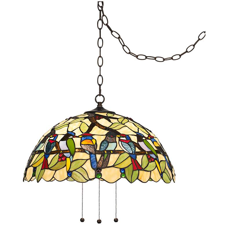 "Robert Louis Tiffany Tropical Birds 20""W Plug-In Pendant"