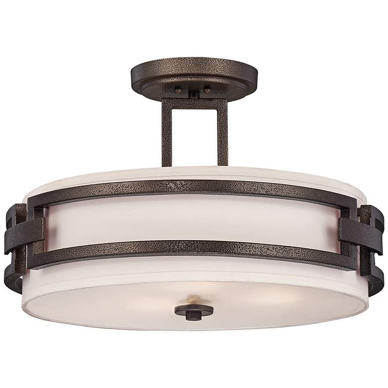 """Del Ray 17 1/2"""" Wide Flemish Bronze Ceiling Light"""