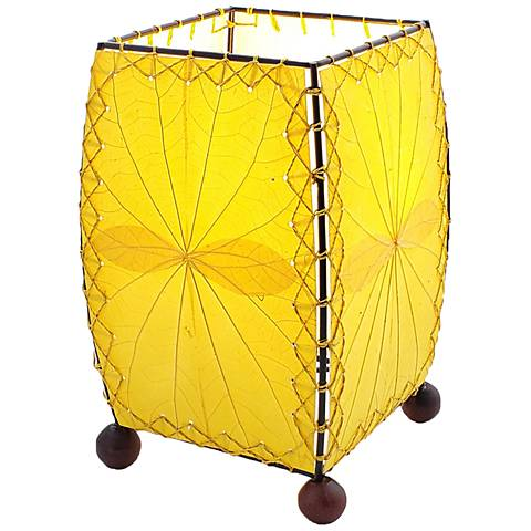 """Eangee 8"""" High Mini Square Yellow Accent Lamp"""