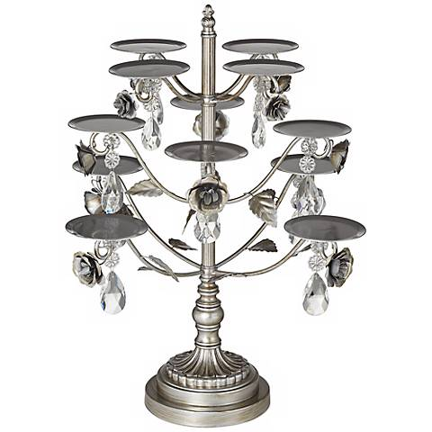 "Jewel Rose Antique Silver 19"" High Cupcake Stand"