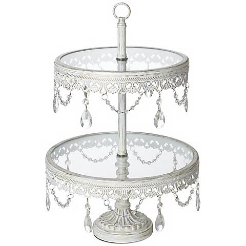 "Jenny White Beaded 17"" High 2-Tier Cake or Cupcake Stand"