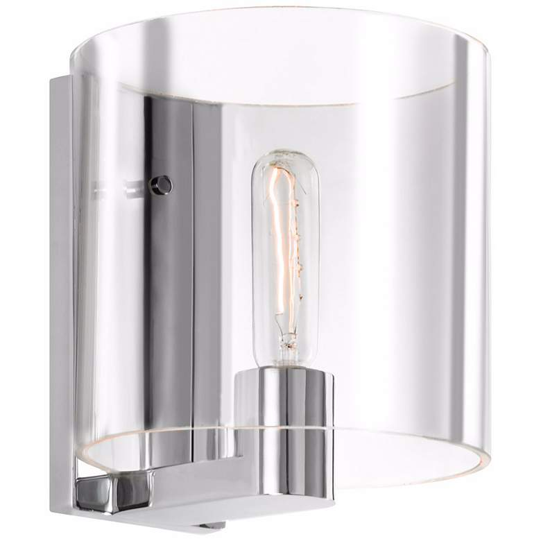 """Sonneman Delano 7 3/4"""" Wide Clear Chrome Wall Sconce"""