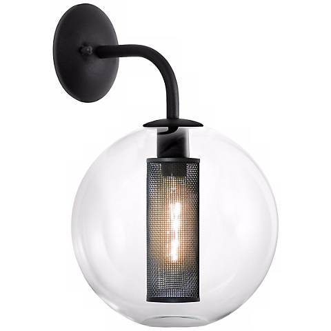 "Sonneman Tribeca 12"" Wide Textured Black Wall Sconce"