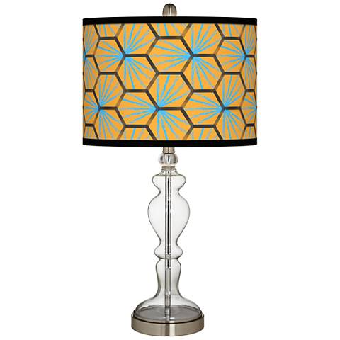 Hexagon Starburst Giclee Apothecary Clear Glass Table Lamp