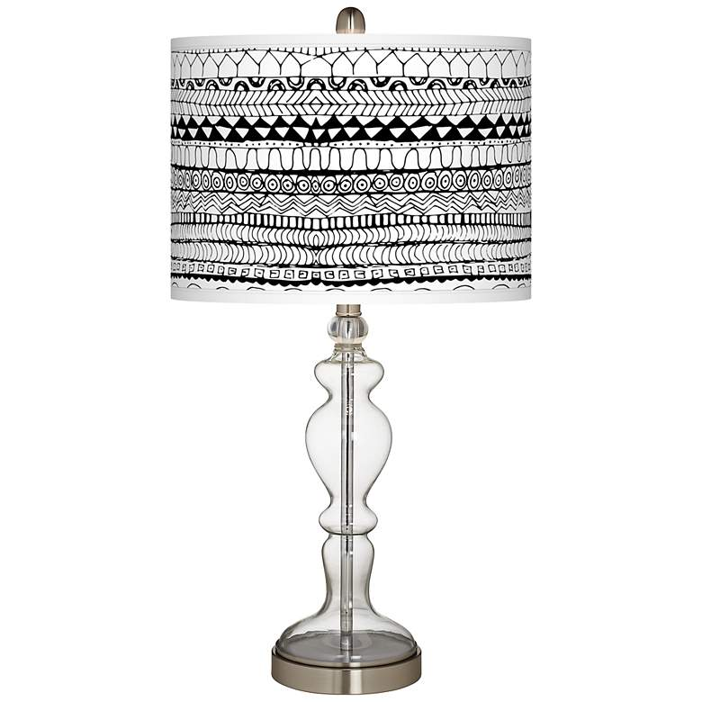 Lines Black Giclee Apothecary Clear Glass Table Lamp