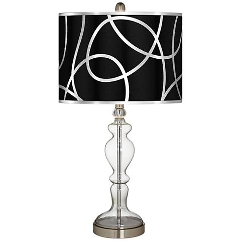 Abstract Silver Metallic Giclee Apothecary Clear Glass Table Lamp