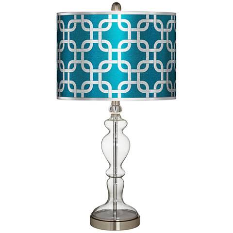 Lattice Silver Metallic I Apothecary Clear Glass Table Lamp