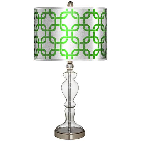 Lattice Silver Metallic II Apothecary Clear Glass Table Lamp