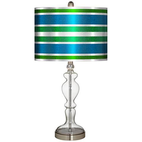Multi Color Stripes Silver Metallic Apothecary Table Lamp