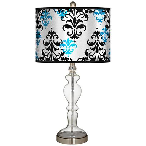 Damask Shadow Silver Metallic Apothecary Clear Glass Table Lamp