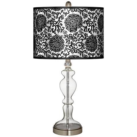 Thomas Paul Blossom Silver Metallic Clear Glass Table Lamp