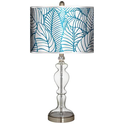 Tropical Leaves Silver Metallic Apothecary Clear Glass Table Lamp
