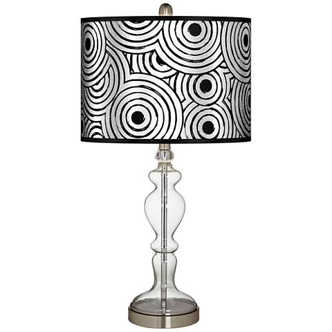 Circle Daze Silver Metallic Apothecary Clear Glass Table Lamp