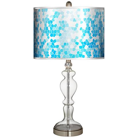 Mosaic Silver Metallic Giclee Apothecary Clear Glass Table Lamp