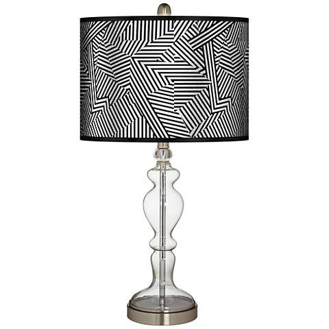 Labyrinth Silver Metallic Apothecary Clear Glass Table Lamp
