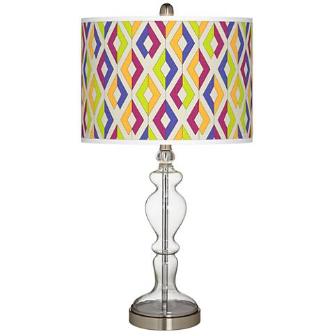 Chromatic Diamonds Giclee Apothecary Clear Glass Table Lamp