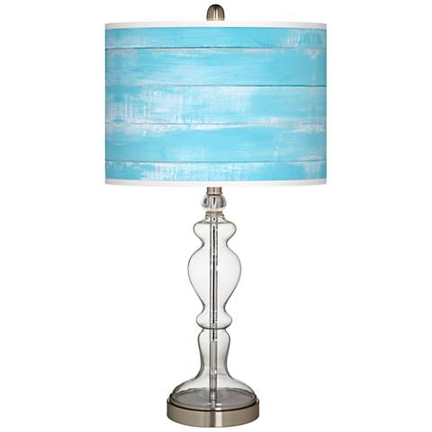 Barnyard Blue Giclee Apothecary Clear Glass Table Lamp