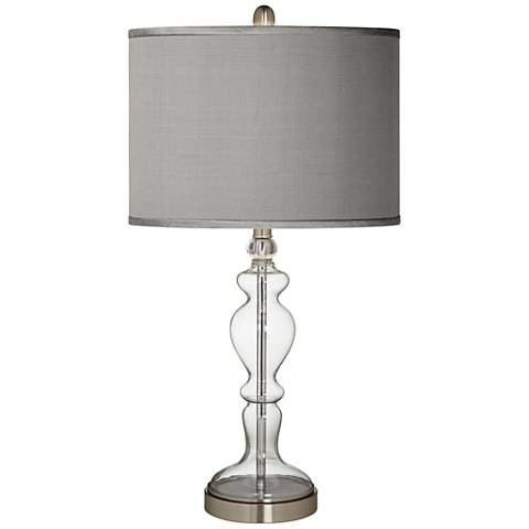 Gray Faux Silk Apothecary Clear Glass Table Lamp