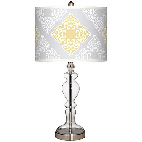 Aster Grey Giclee Apothecary Clear Glass Table Lamp