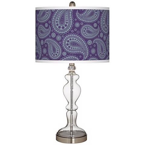 Purple Paisley Linen Apothecary Clear Glass Table Lamp