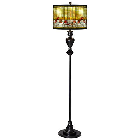 Tiffany-Style Lily Giclee Glow Black Bronze Floor Lamp